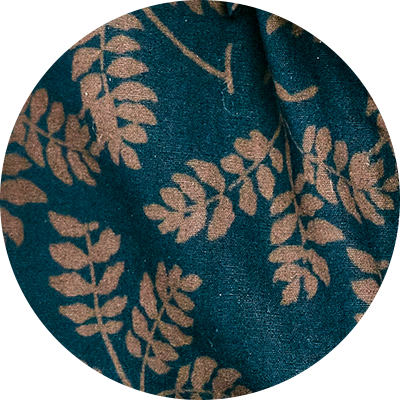 300 Navy/Brown Leaf print