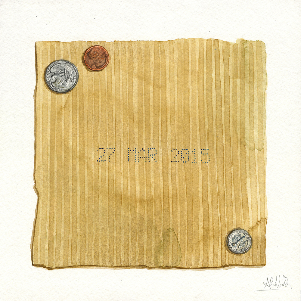 """Thirty six cents""  2015  Watercolor on paper  9""x9""  Available"
