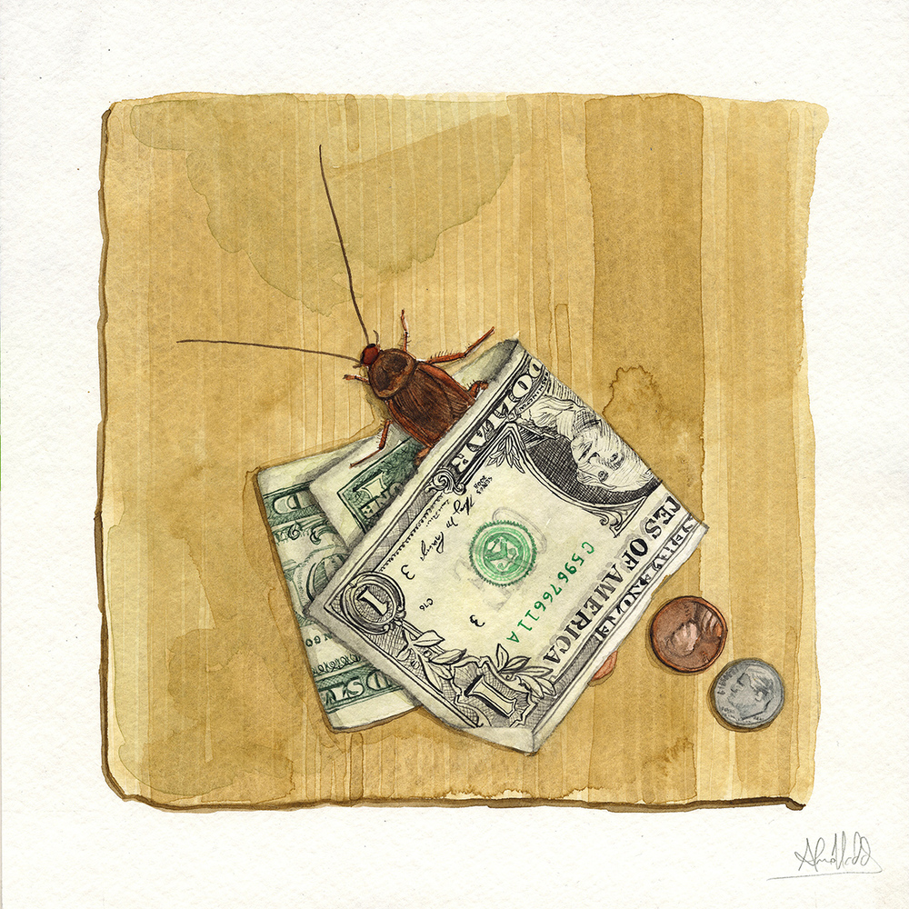 """Two dollars and twelve cents""  2015  Watercolor on paper  9""x9"""