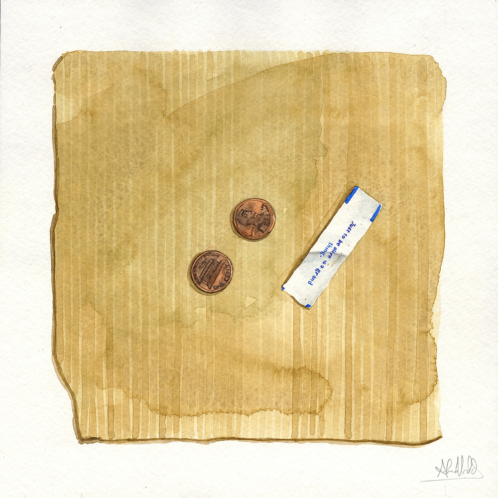 """Two cents""  2015  Watercolor on paper  9""x9"""