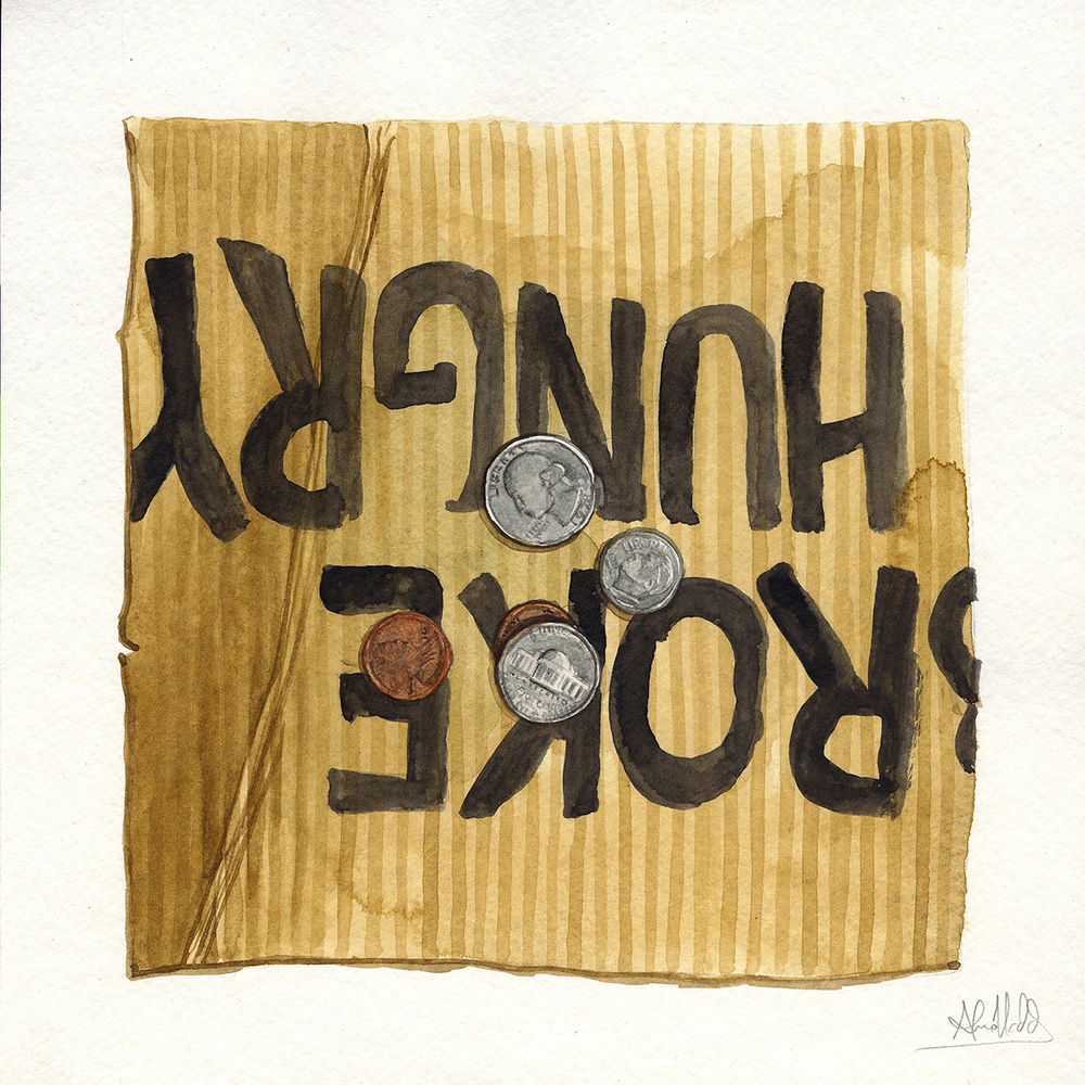 """Forty two cents""  2015  Watercolor on paper  9""x9""  Available"
