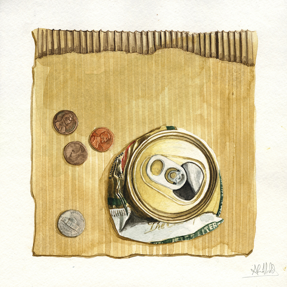 """Thirteen cents""  2015  Watercolor on paper  9""x9""  Available"