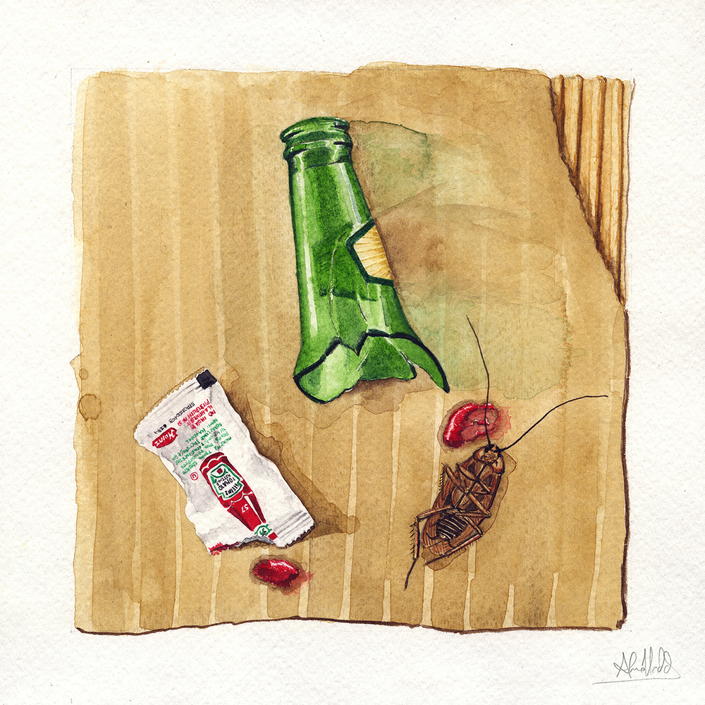 """Another Life - Chapter 3""  2015  Watercolor on paper  9"" x 9""  Available"
