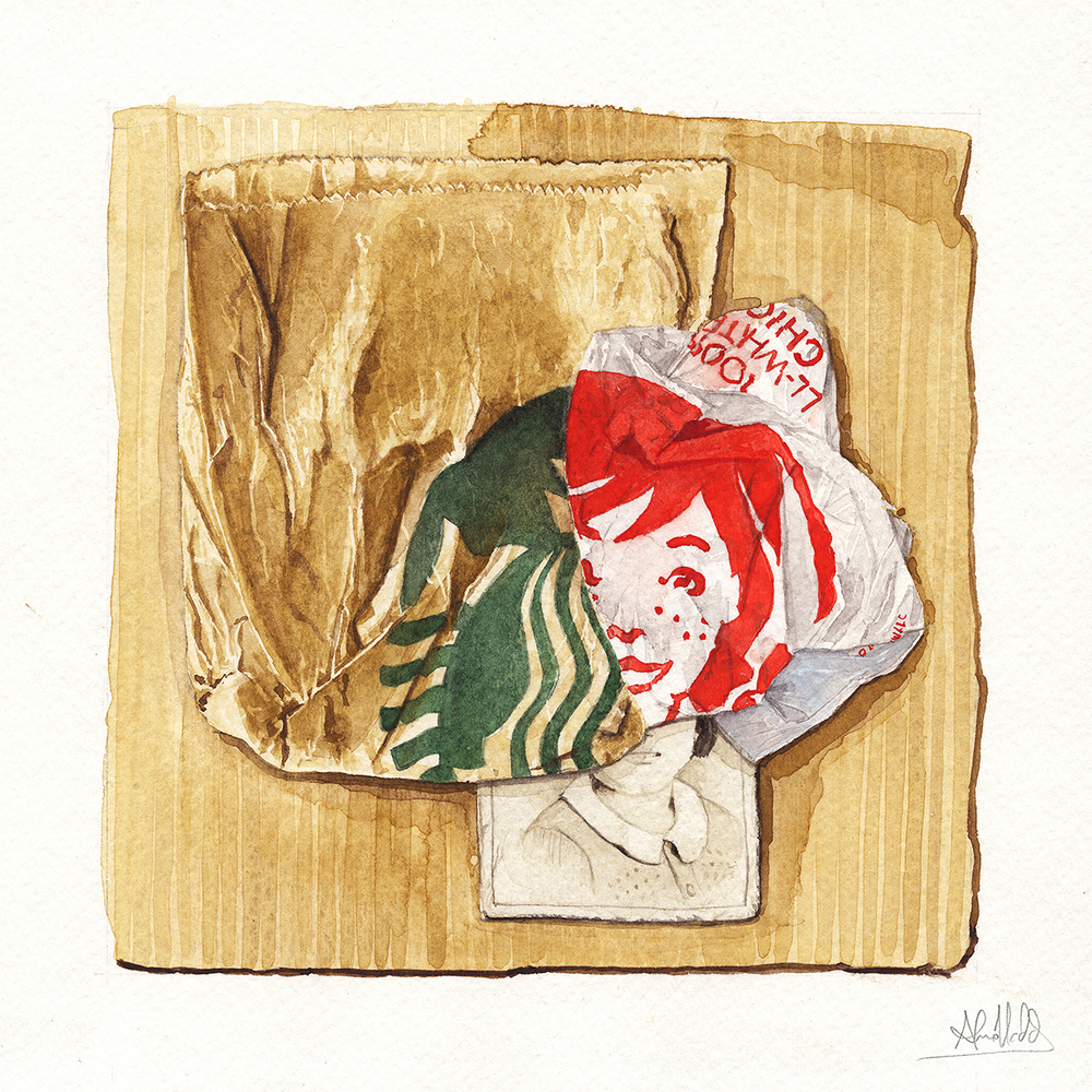 """""""Another Life - Chapter 8""""  2015  Watercolor on paper  9"""" x 9""""  Available at Thinkspace Gallery"""
