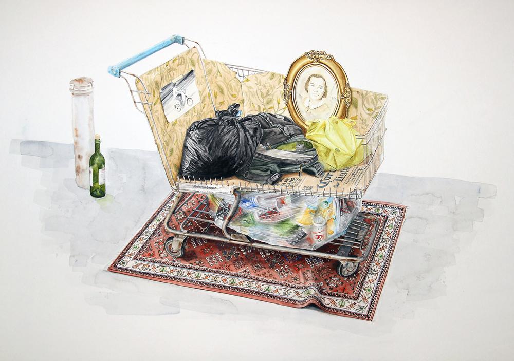 """""""El recuerdo de los nómades II""""  2015  Watercolor on paper  24"""" x 36""""  Available at Residency Art Gallery"""