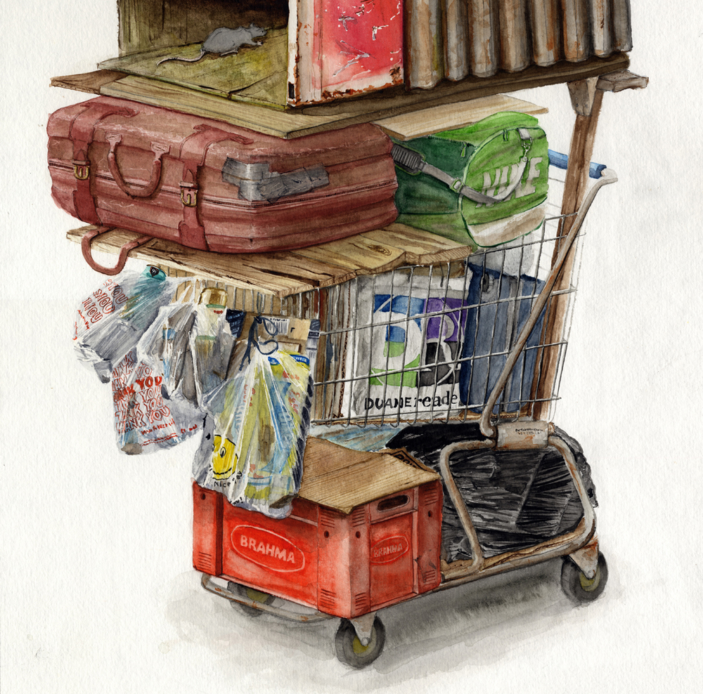 """""""Camino Real, 783"""" Detail 01  2016  Watercolor on paper  60"""" x 15""""  Available at Thinkspace Gallery"""