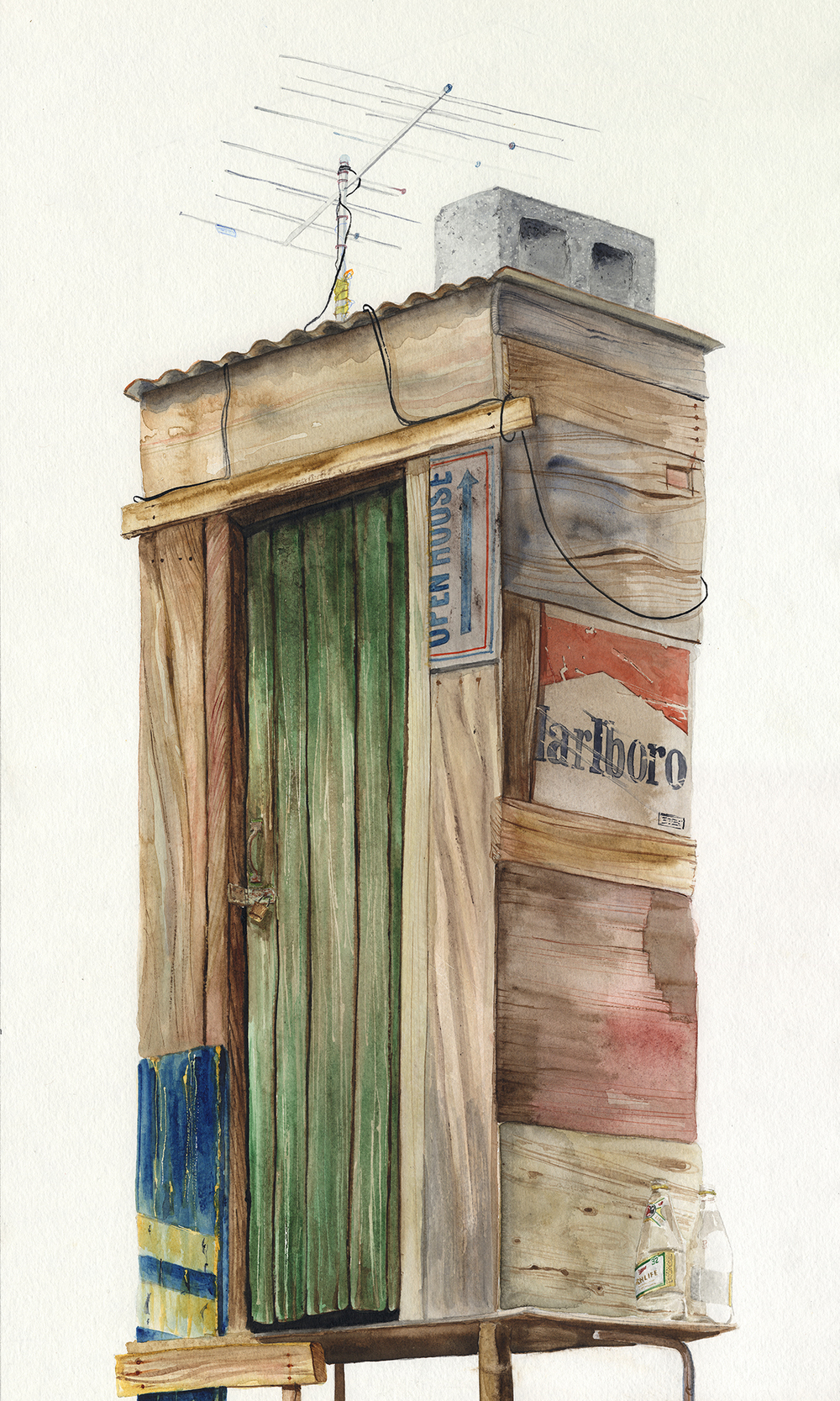 """""""Jupiter, 513"""" Detail 03  2016  Watercolor on paper  60"""" x 15""""  Available at Thinkspace Gallery"""