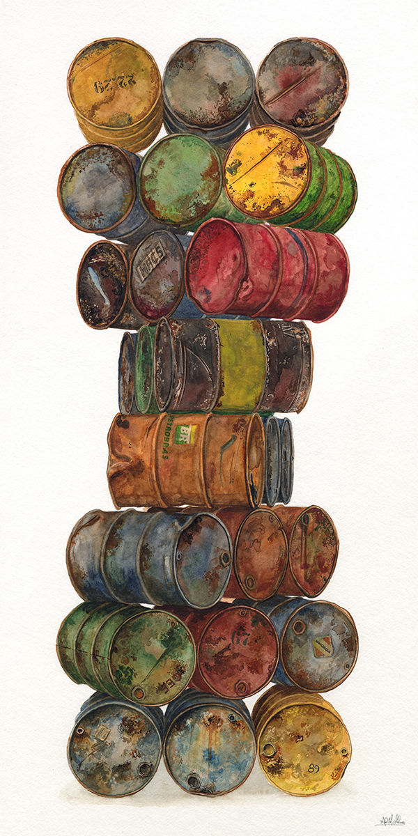 """""""Crude""""  2017  Watercolor on paper  12"""" x 24"""" inches"""