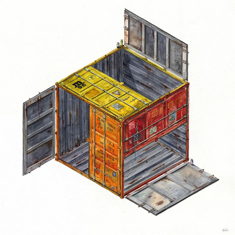 """Nonagon""  2017  Watercolor on paper  24"" x 24"" inches"