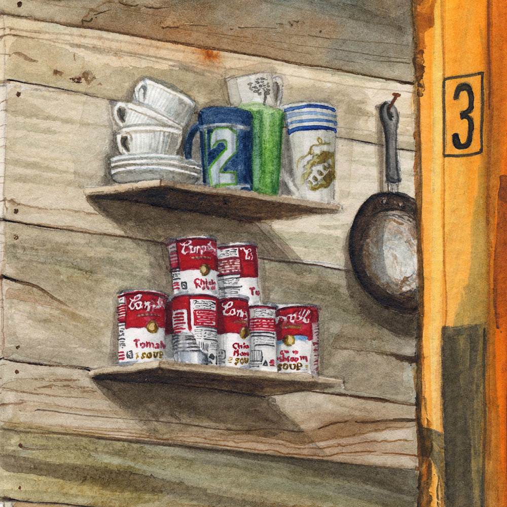 """Three meals a day"" Detail  2017  Watercolor on paper  12"" x 24"" inches  • SOLD"