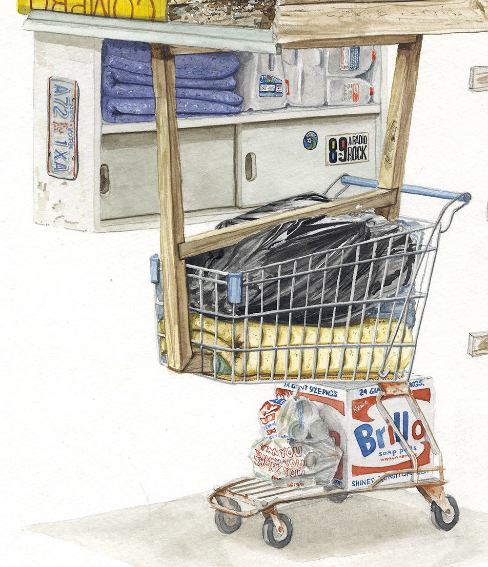 """""""Breakfast of Champions"""" Detail  2017  Watercolor on paper  12"""" x 24"""" inches"""