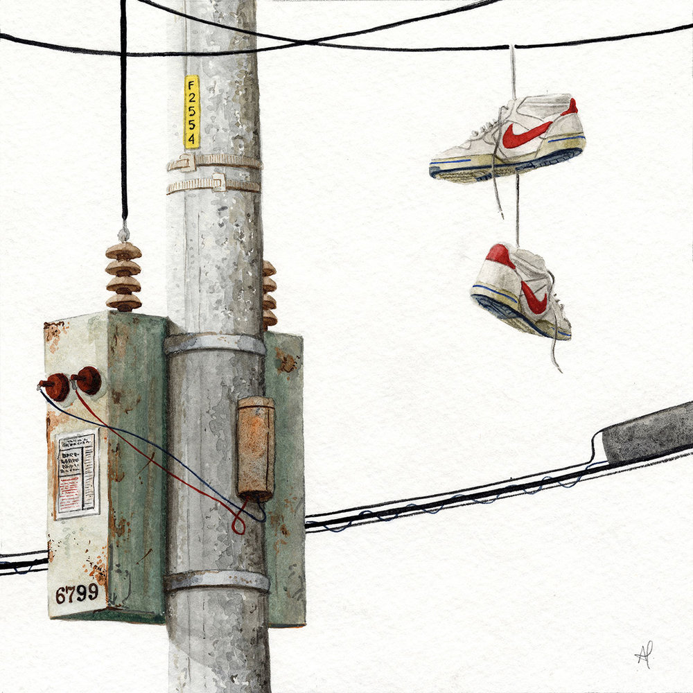 """""""Swoosh""""  2017  Watercolor on paper  7"""" x 7"""" inches  • SOLD"""