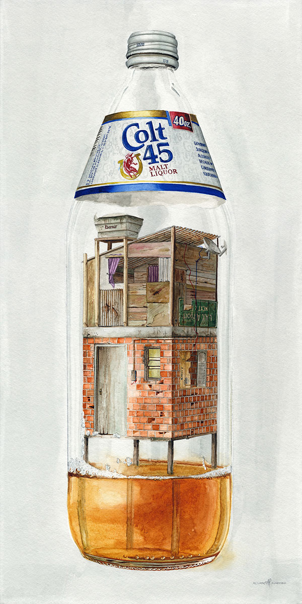 """""""Colt 45""""  2018  Watercolor on paper  12"""" x 24"""" inches  • SOLD"""