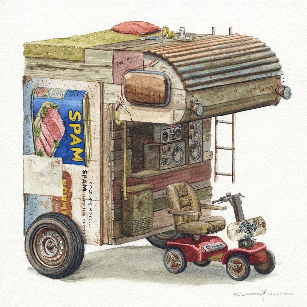 """""""Sanguenozoio""""  2018  Watercolor on paper  9.5"""" x 9.5"""" inches"""