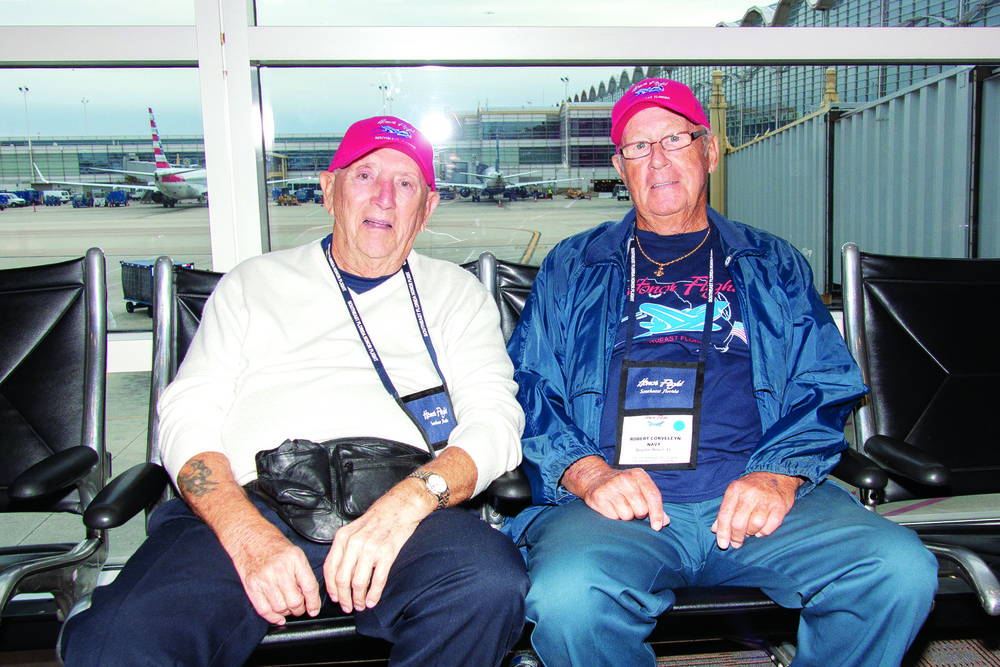 Charlie Malpere and Robert Corveleyn, both 87, catch up after not seeing each other for 70 years since they graduated high school in Springfield, N.J. The two had an unexpected reunion after Corveleyn noticed Malpere's name tag and have discovered that they live 5 miles from each other in Boynton Beach.