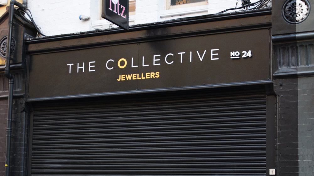 THE COLLECTIVE JEWELLERS, Drury Street. Design: Rodrigo Maruso. Gold leaf.