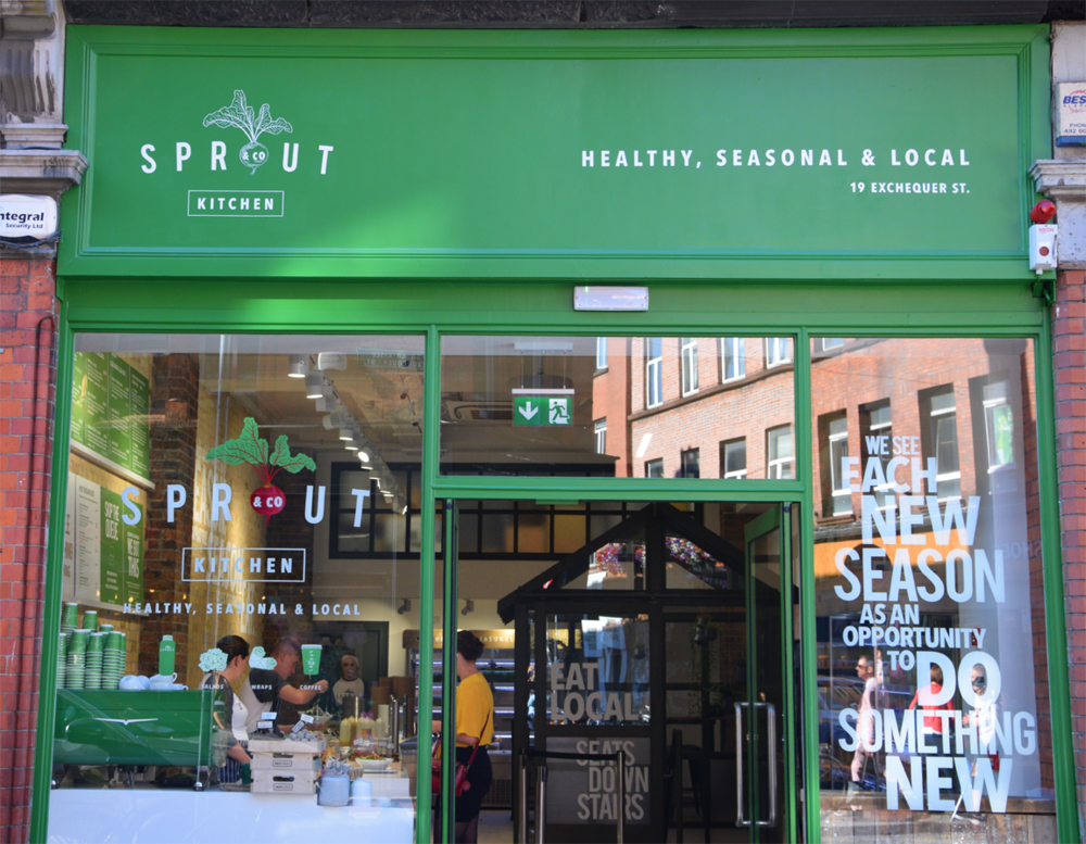 SPROUT KITCHEN, Exhcequer Street. Design Francis Curran. Fascia and windows hand painted.