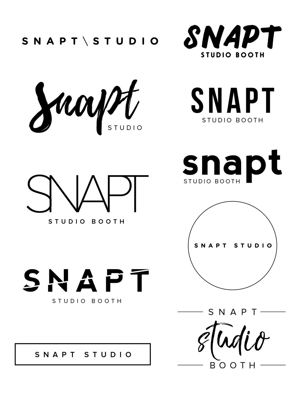 Logo exploration for Snapt Studio photobooth