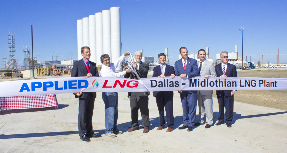 (from left) Applied lng: Gregory Roche - Applied LNG, Kishore Duwadi, Edward McKenna, Jr., Frank Martelli ; Jason Isaac - Texas State Representative, Chris Dick - Midlothian Economic Development, Larry Barnett - Midlothian Economic Development