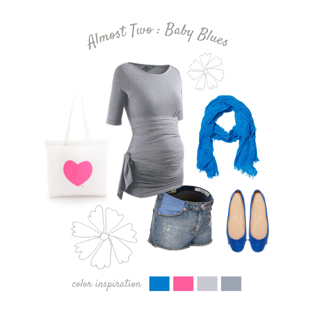 Baby Blues Bright, modern, comfortable. Try a stretchy wrap on top, creating a flattering look for mom while also showing off that bump! Bright, bright accessories add amazing color to your photos and help to keep things looking modern. Flats are comfortable, casual, and stylish for warm weather and keep you and baby safe!
