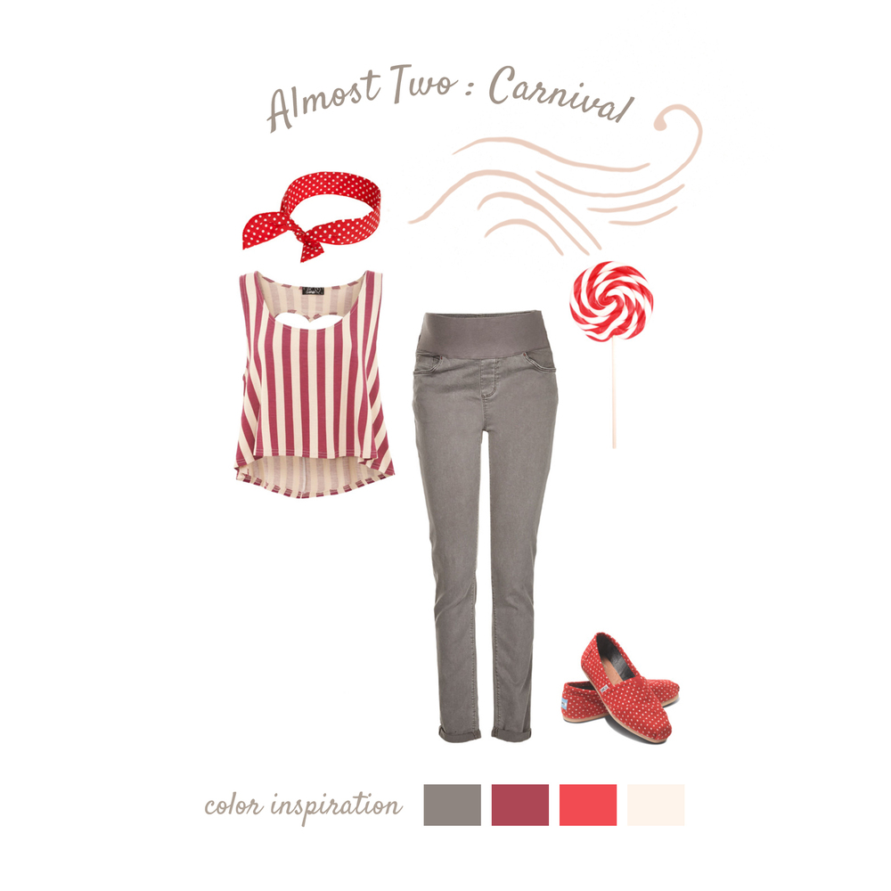 Carnival Colorful, sweet, and fun just because you're about to be a mom doesn't mean you're not a kid at heart! Red and white carnival stripes are flattering and fun. A pair of stretchtop pants keep you and baby extremely comfortable. Red accessories make your images a playful affair. And let's not forget the best part... adding a sugary treat, like a striped lollipop, keep you focused and enjoying yourself!