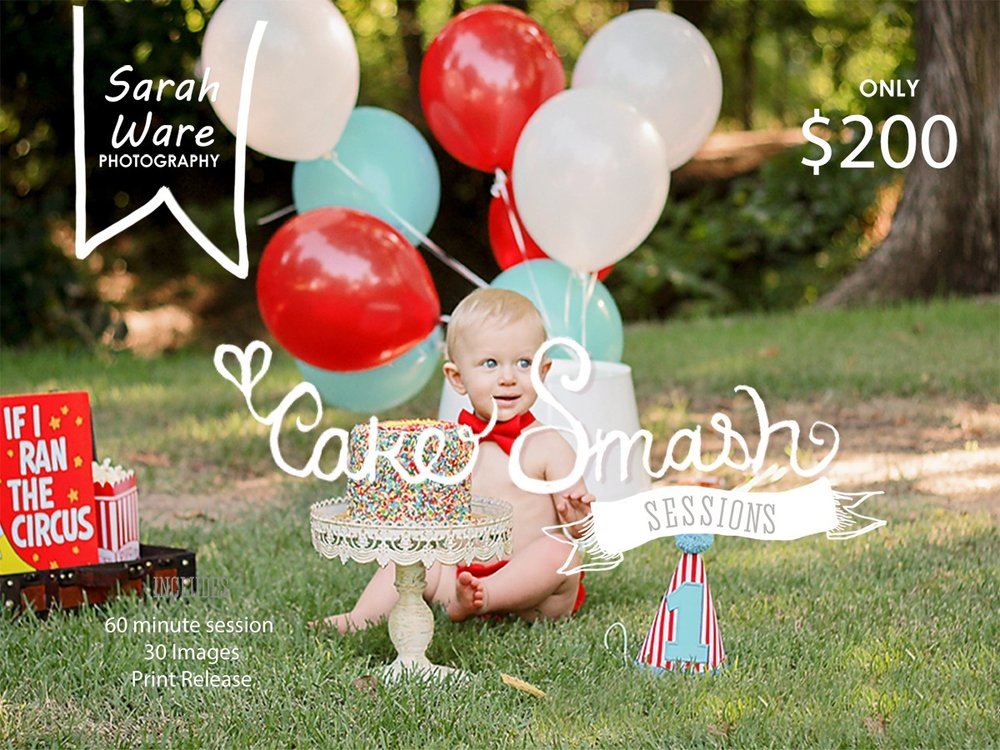 Cake Smash Session on Location at the Grapevine Botanical Gardens. For a session like this please email me swp@sarahwarephotography.com
