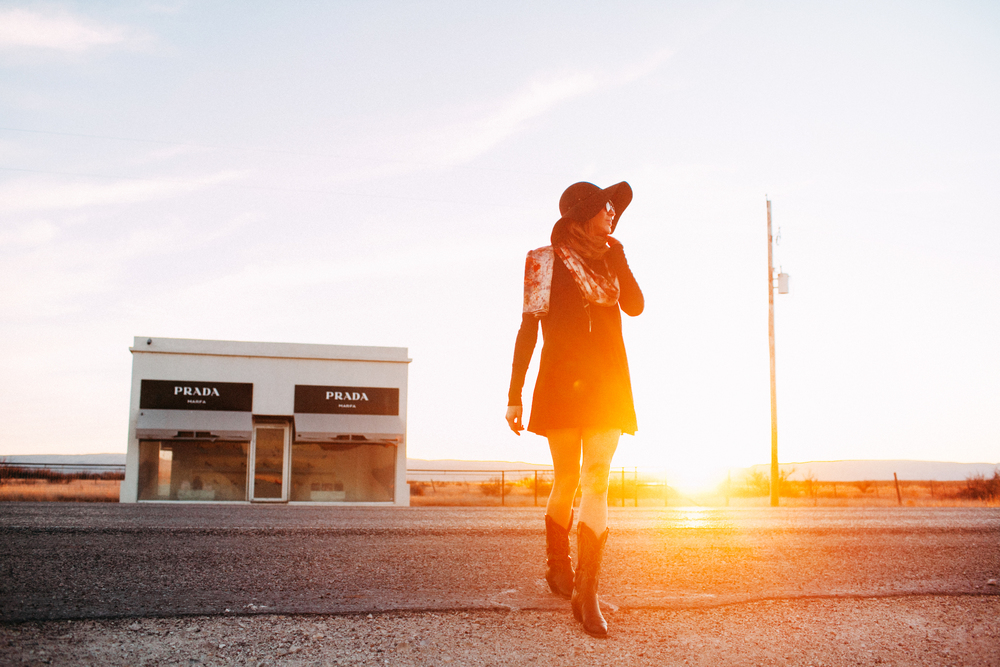 Prada Marfa Sunset Lifestyle Fashion Photography by The Finches
