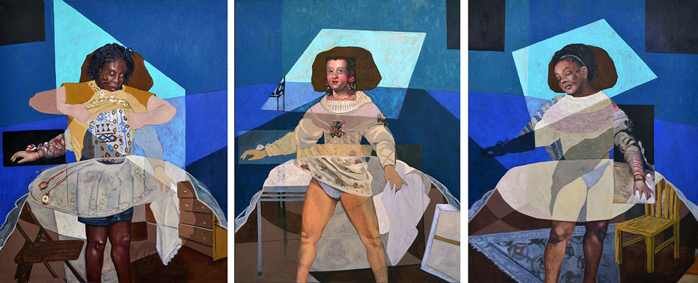 Three Women of Maria Teresa , oil on canvas, triptych, 155 x 52 in