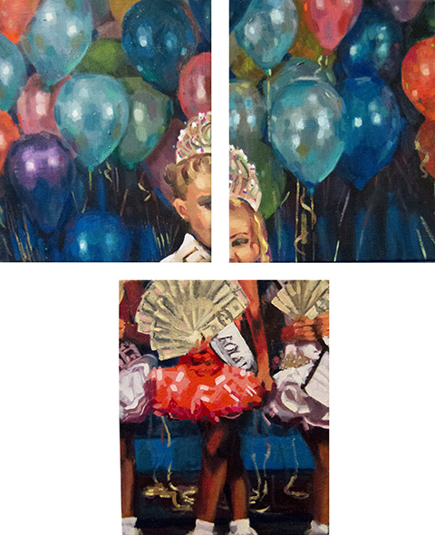 Bread and Circus, triptych, each panel 8 x 10 in, oil on canvas