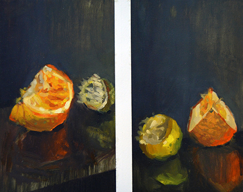 fruit still life, 18 x 24 in, oil on paper