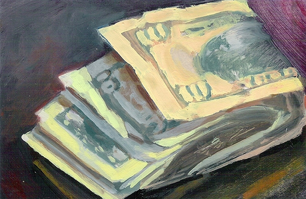 Groanings that Cannot Be Uttered, 4 x 6 in, oil on paper