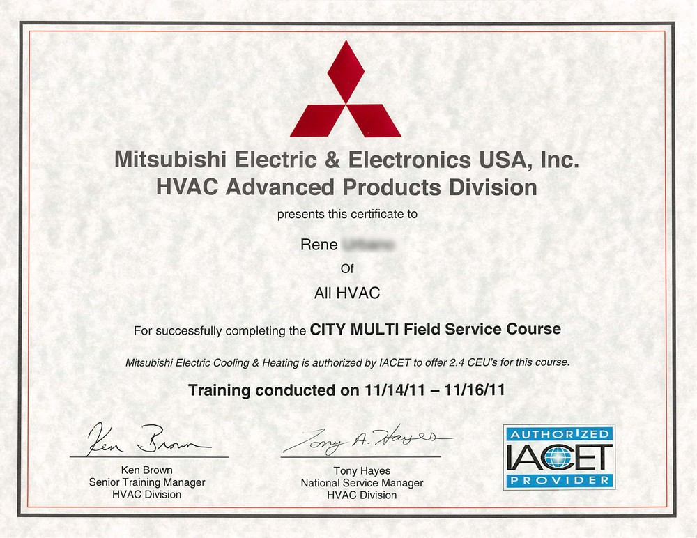 CERTIFICATIONS — ALL HVAC SERVICE CO