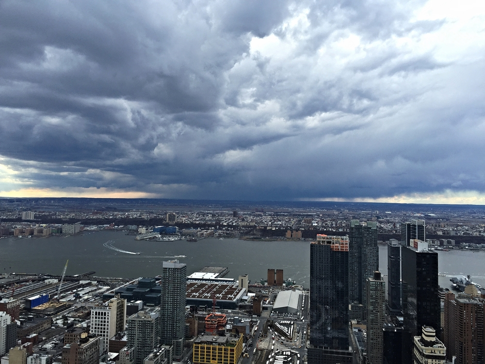 View of New Jersey, you can tell where it's going to rain.