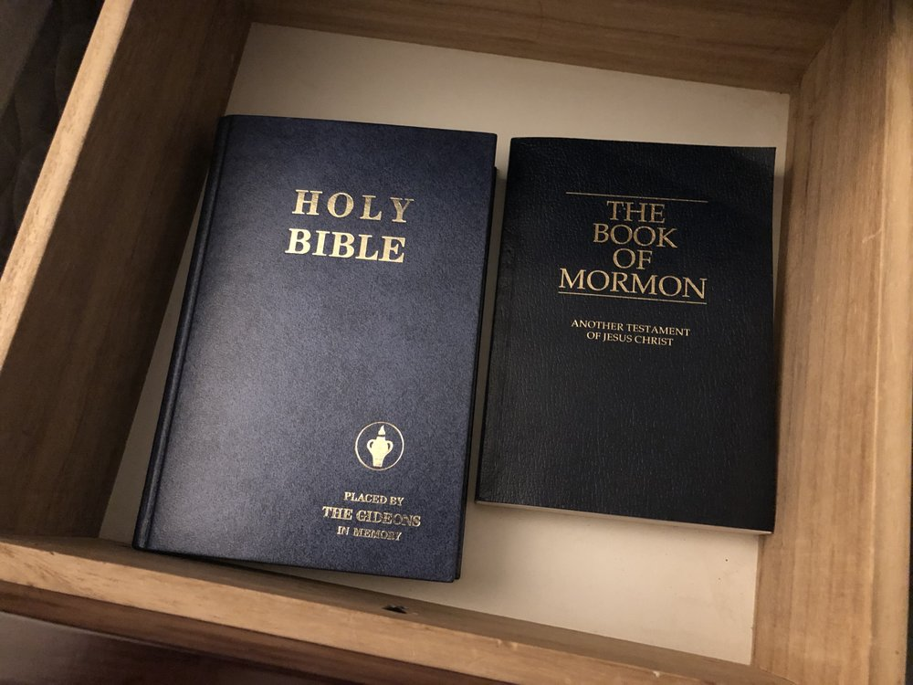 I'm used to seeing the Christian bible in every hotel I stay in. Seeing the other one is a first for me!