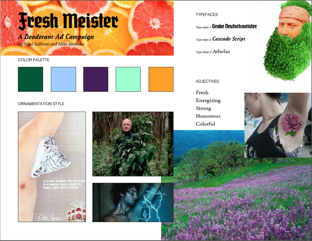 Our mood board for the assignment.