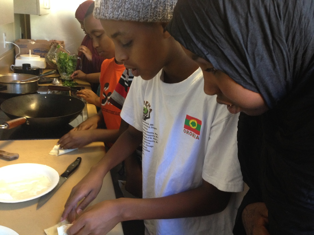 Youth learned how to cook in our summer program that focused on leadership & healthy eating