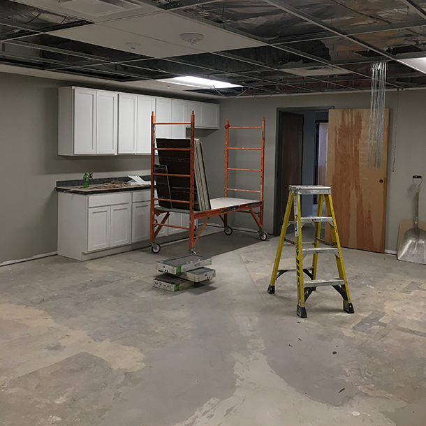 Office break room during construction