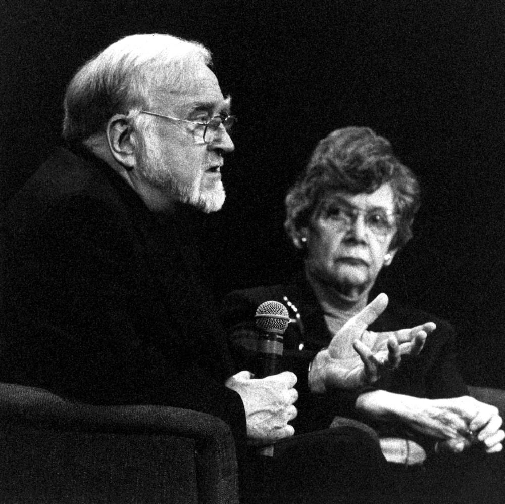 Mihaly Csikszentmihalyi and a conference panelist at the Not Just Any Body Conference in 1999.