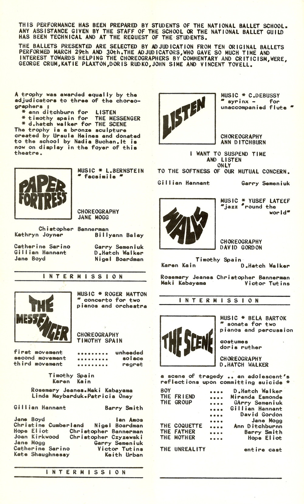 Program from the first NBS Choreographic Workshop, May 22, 1968. Student choreographers included Timothy Spain, Ann Ditchburn, Jane Mogg, David Gordon, and David Hatch Walker.