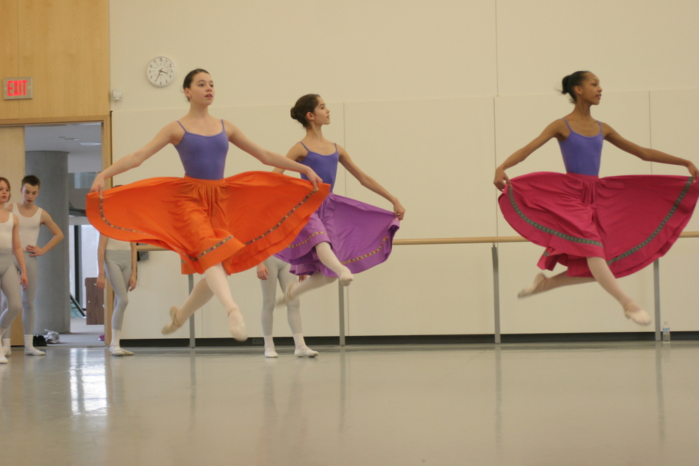 NBS students are exposed to a variety of dance styles, like the character class in the photo above, to keep pace with the ever-evolving nature of dance and choreography.