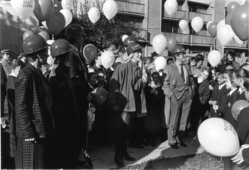 Betty Oliphant, complete with hard hat, kicks off construction on the R.A. Laidlaw Centre alongside Bill Poole, David Silcox, Mavis Staines and Mora Oxley in 1986.