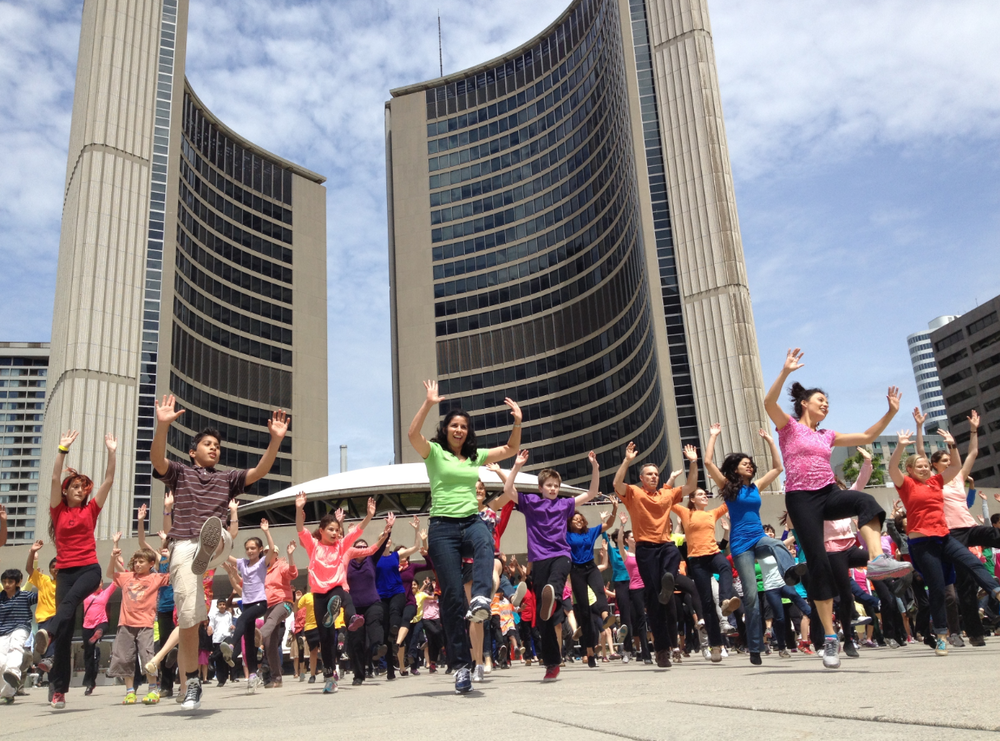 In 2013, dancers performed a contemporary indigenous-styled flash mob in front of Toronto's City Hall.