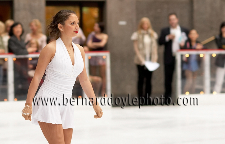 Well prepared skater enters ice at Rockefeller Center for her part in corporate event created by World Ice Events    ©2011   www.bernarddoylephoto.com