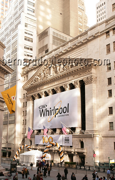 An event skillfully arranged by Peppercom, NY, Celebrating Whirlpool's 100th year on the New York Stock Exchange ©2011 www.bernarddoylephoto.com