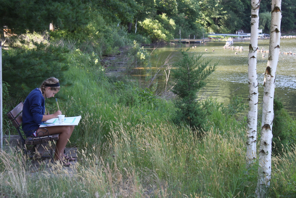 Watercolor Art on the Meadow Student by the lagoon.JPG