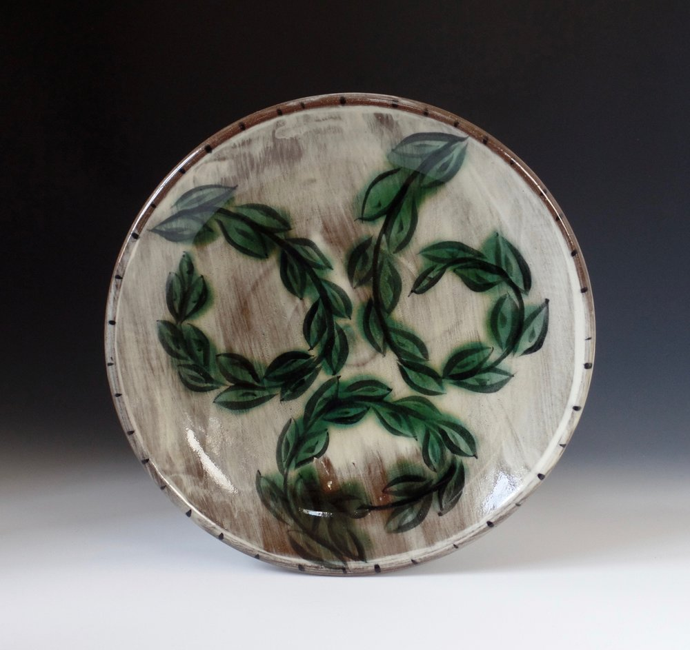 "Dinner Plate With Leaves, red stoneware, 1.5"" x 9"" x 9"", 2015"