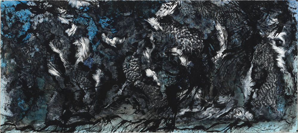 "Blue, ink and gouache on paper, 52"" x 144"", 2015"