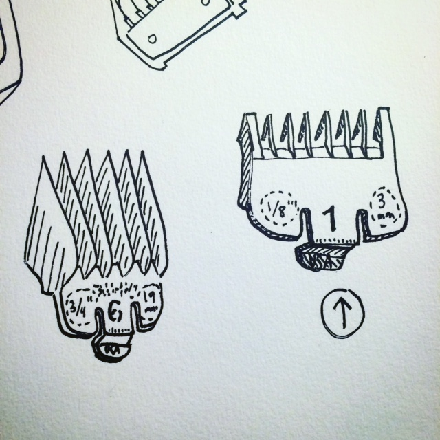 Suzanne Gold // HAIR CLUB, Clippers, this one (detail from ATG by Nathanael Jones), ink on paper, 2016