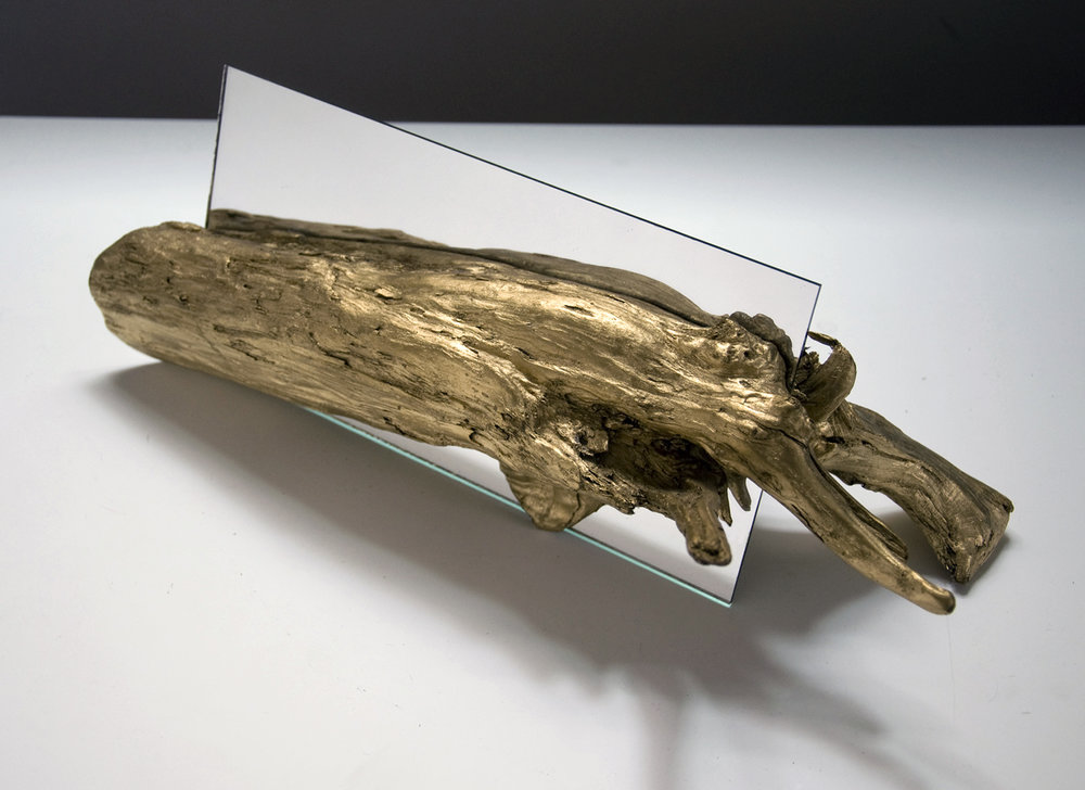 "Partition, kiln-dried wood, enamel, mirror, 16"" x 6"" x 5"", 2014"