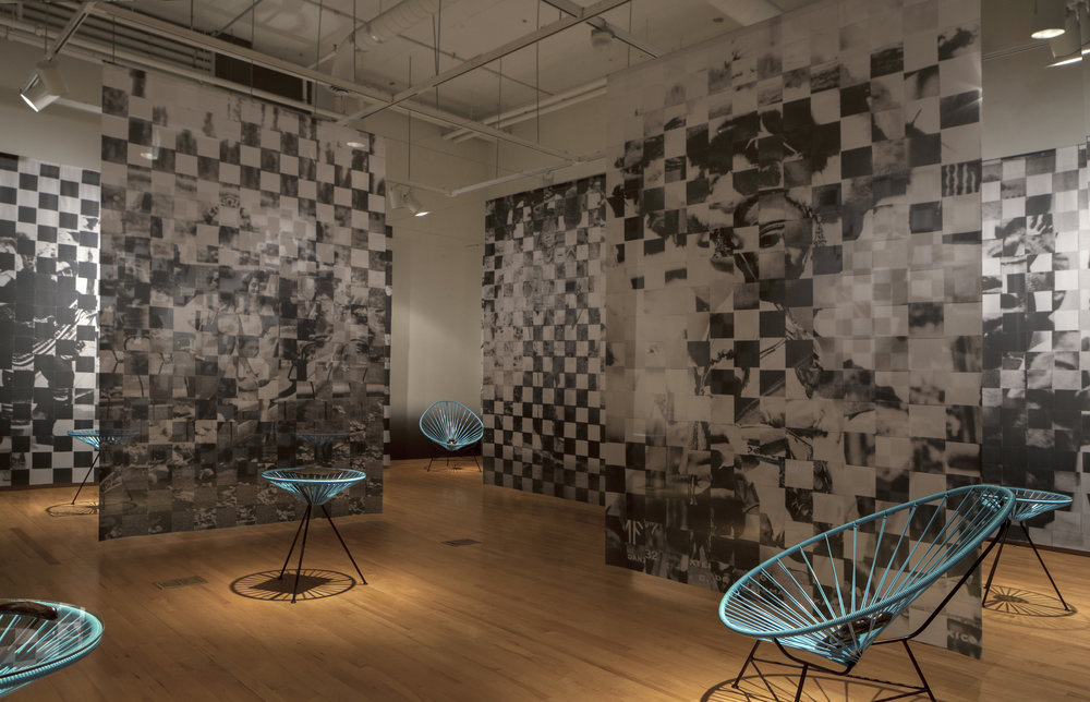 BROWN BRILLIANCE DARKNESS MATTER | (Installation detail of current exhibition at the National Museum of Mexican Art in Chicago), Woven Collage on Digitally Printed Dye Sub Fabric, White Stoneware, Cone 6, Oxidation, Brown Overglaze on Acapulco Furniture, 2016 Photo Credit: Sara Pooley